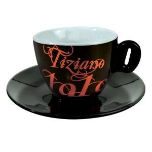 Чашка для капучино с блюдцем Bristot Tiziano 1919(черн)